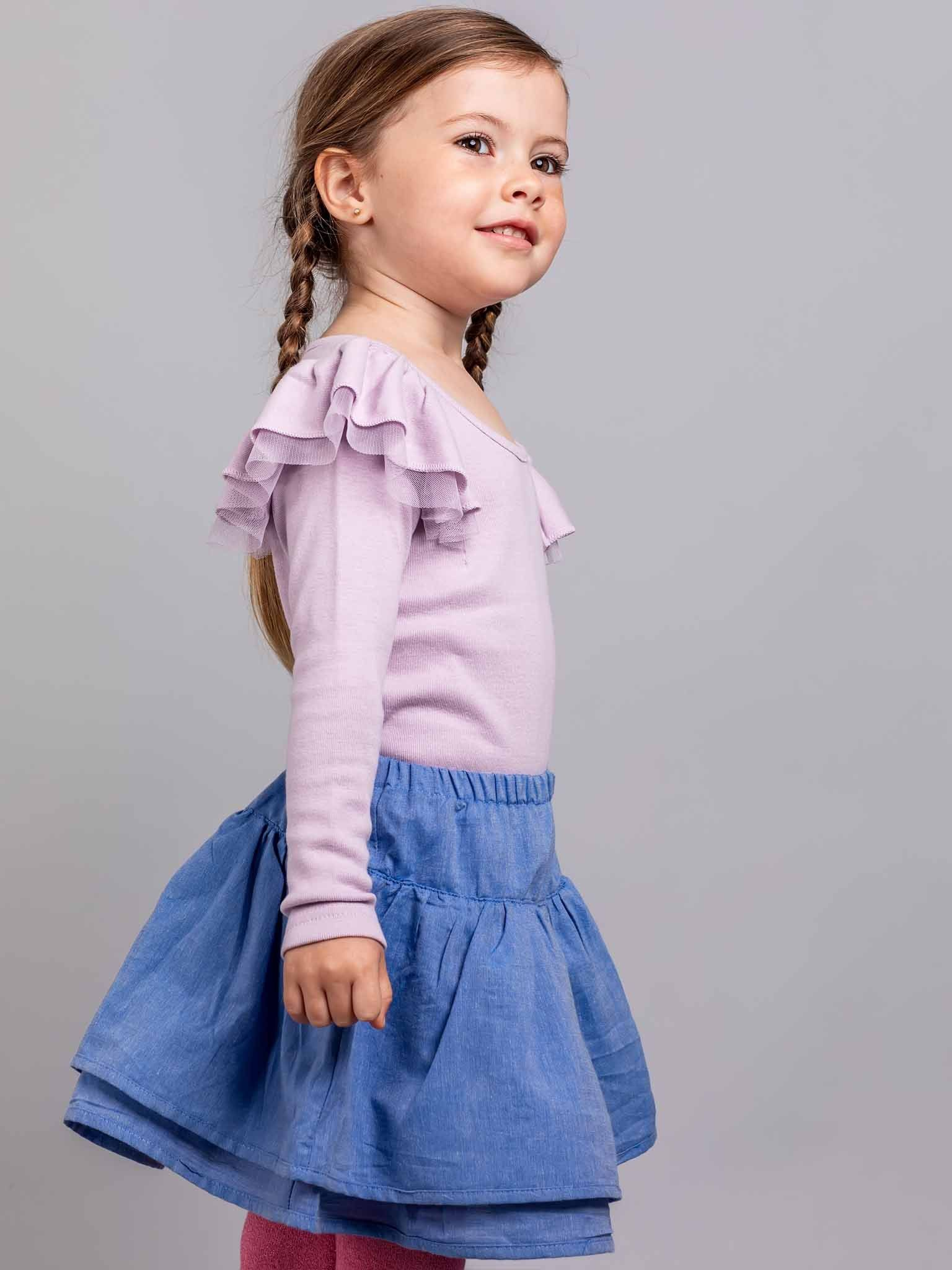 Sweetheart Long Sleeved Tee Lilac, Tops - Oobi Girls Kid Fashion