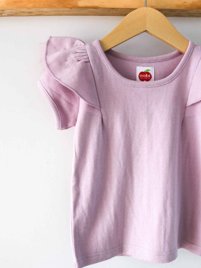 Sweetheart Short Sleeved Tee Lilac, Tops - Oobi Girls Kid Fashion