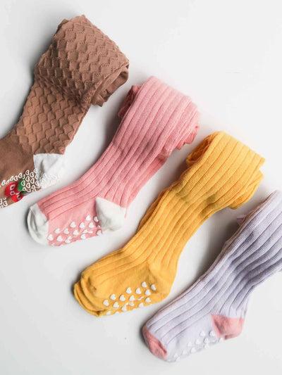 Caramel Cable Knit Tights, Socks and Tights - Oobi Girls Kid Fashion