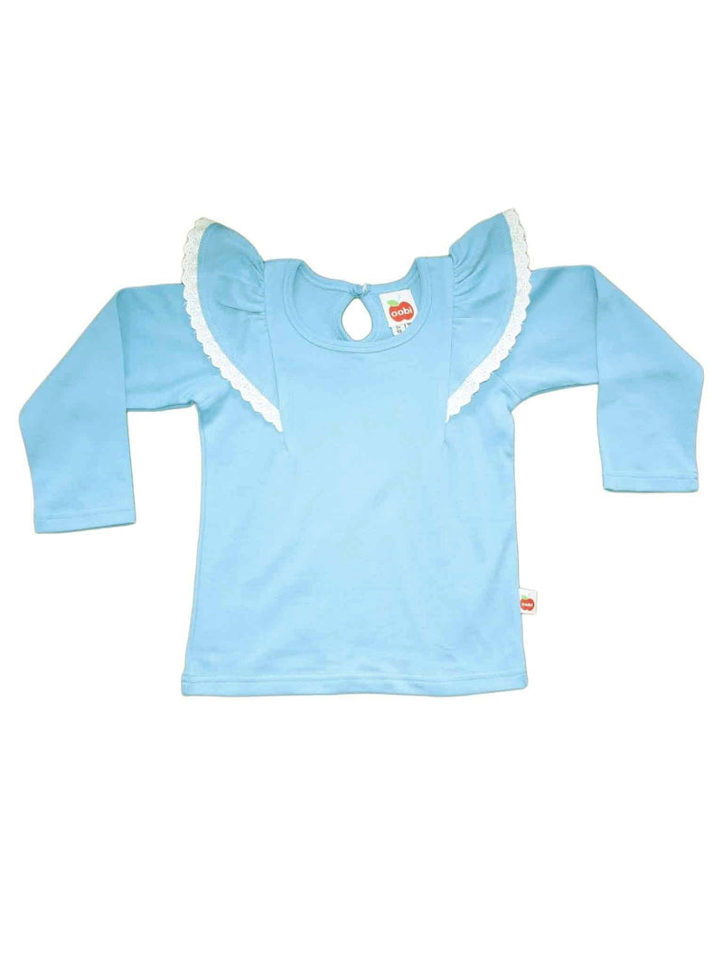 Flutter Long Sleeve Tee Icy Blue, Tops - Oobi Girls Kid Fashion