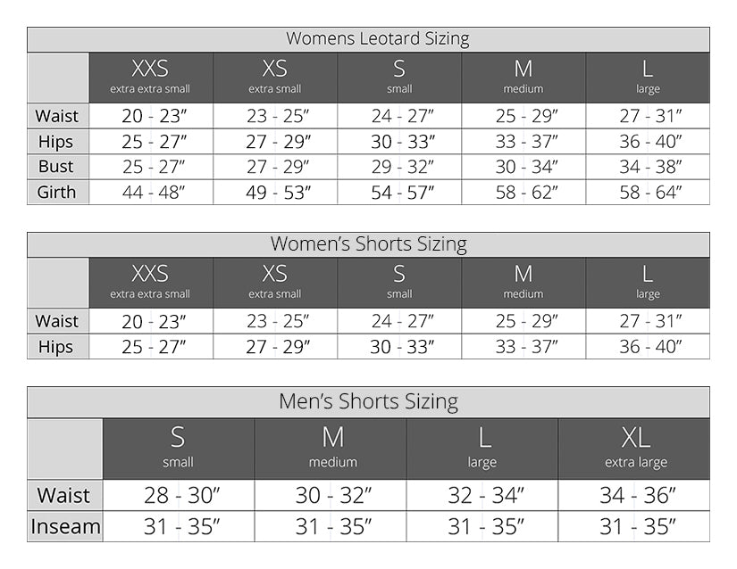 Luckyleo - Leotard and Shorts Sizing for Men, Women, & Children
