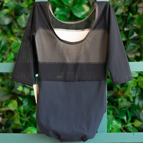 EXTRA SMALL BLACK & BLACK MESH 3/4 SLEEVE SPICE <br> READY TO SHIP