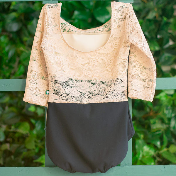 LARGE BLACK & ALMOND LACE 3/4 SLEEVE TRANSCENDENCE <br> READY TO SHIP