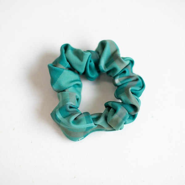 EMERALD PLAID SCRUNCHIE <BR> READY TO SHIP