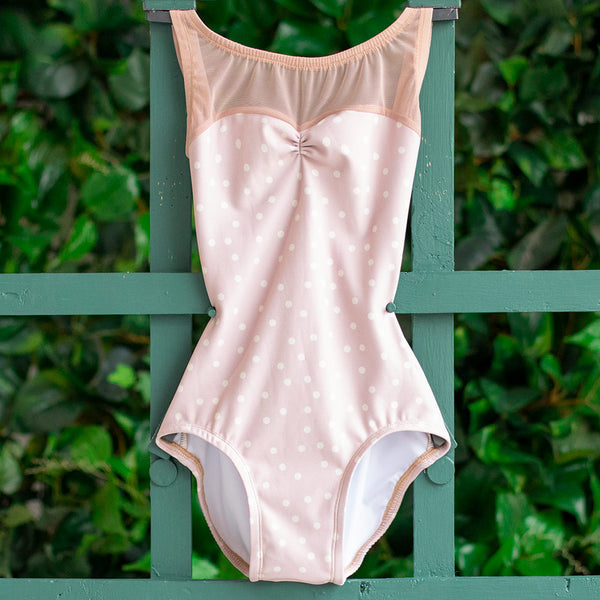 EXTRA EXTRA SMALL PINK POLKA DOT & DUSTY ROSE MESH ACORN<br> READY TO SHIP