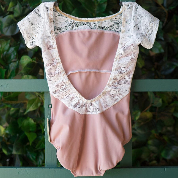SMALL DUSTY ROSE & WHITE LACE CAP SLEEVE STAR <br> READY TO SHIP