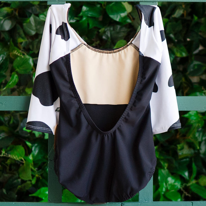 SMALL BLACK & BLACK COW 3/4 SLEEVE BLISS <br> READY TO SHIP