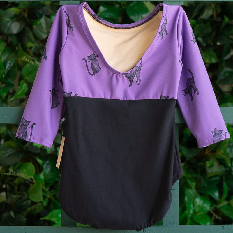 EXTRA EXTRA SMALL BLACK & PURPLE SPOOKY KITTEN 3/4 SLEEVE FLIGHT<br> READY TO SHIP