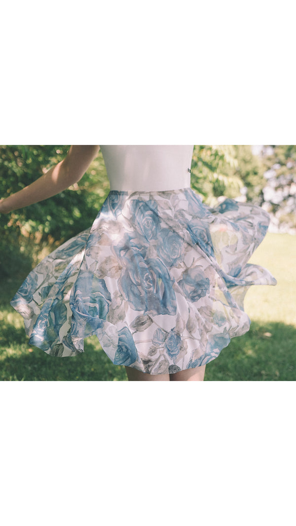 HAND PAINTED RHEA ROYAL ROSE PRINT SKIRT