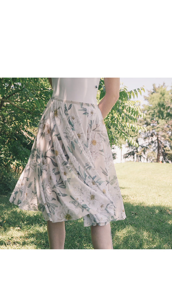 HAND PAINTED RHEA ALMOND CAMELLIA PRINT SKIRT