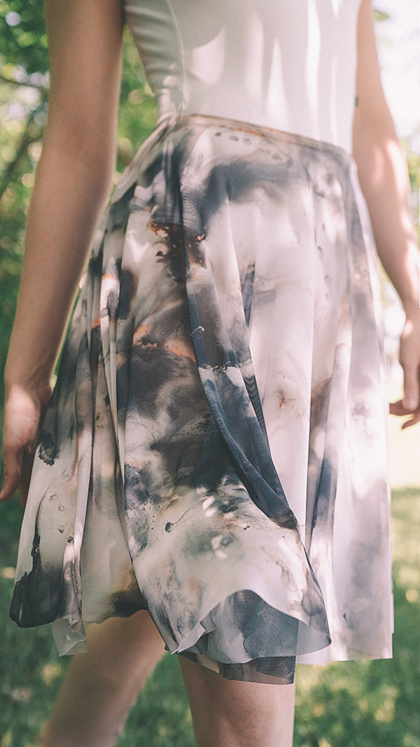 HAND PAINTED RHEA BLACK CLOUD PRINT SKIRT
