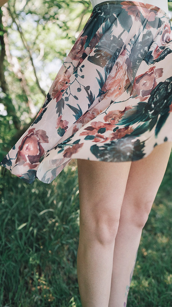 HAND PAINTED RHEA PETAL PRINT SKIRT