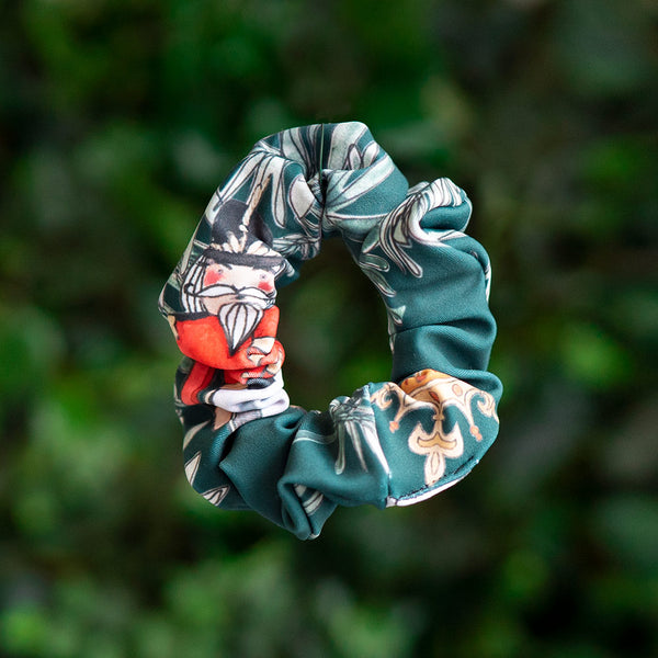 EMERALD BATTLE SCENE SCRUNCHIE <BR> NUTCRACKER COLLECTION