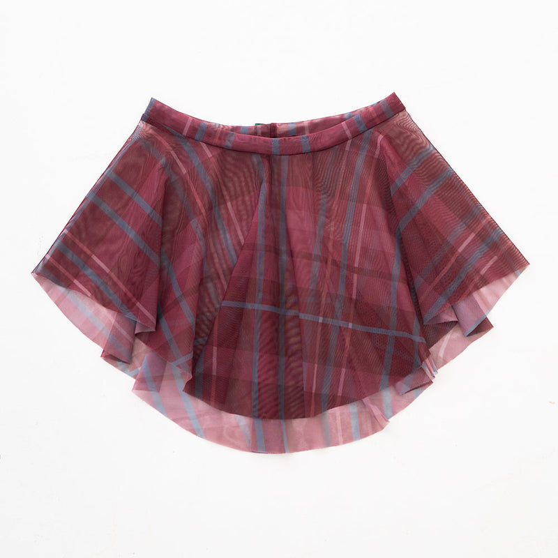 BURGUNDY PLAID PRINT EOS SKIRT
