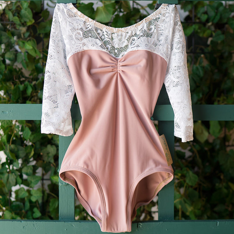 DUSTY ROSE & WHITE LACE 3/4 SLEEVE ACORN BEST SELLER