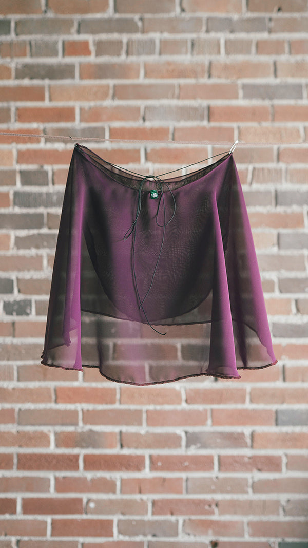 FLORA style short wrap skirt ballet Luckyleo dancewear plum back