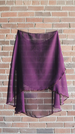 VESTA style knee length wrap skirt ballet Luckyleo dancewear plum front