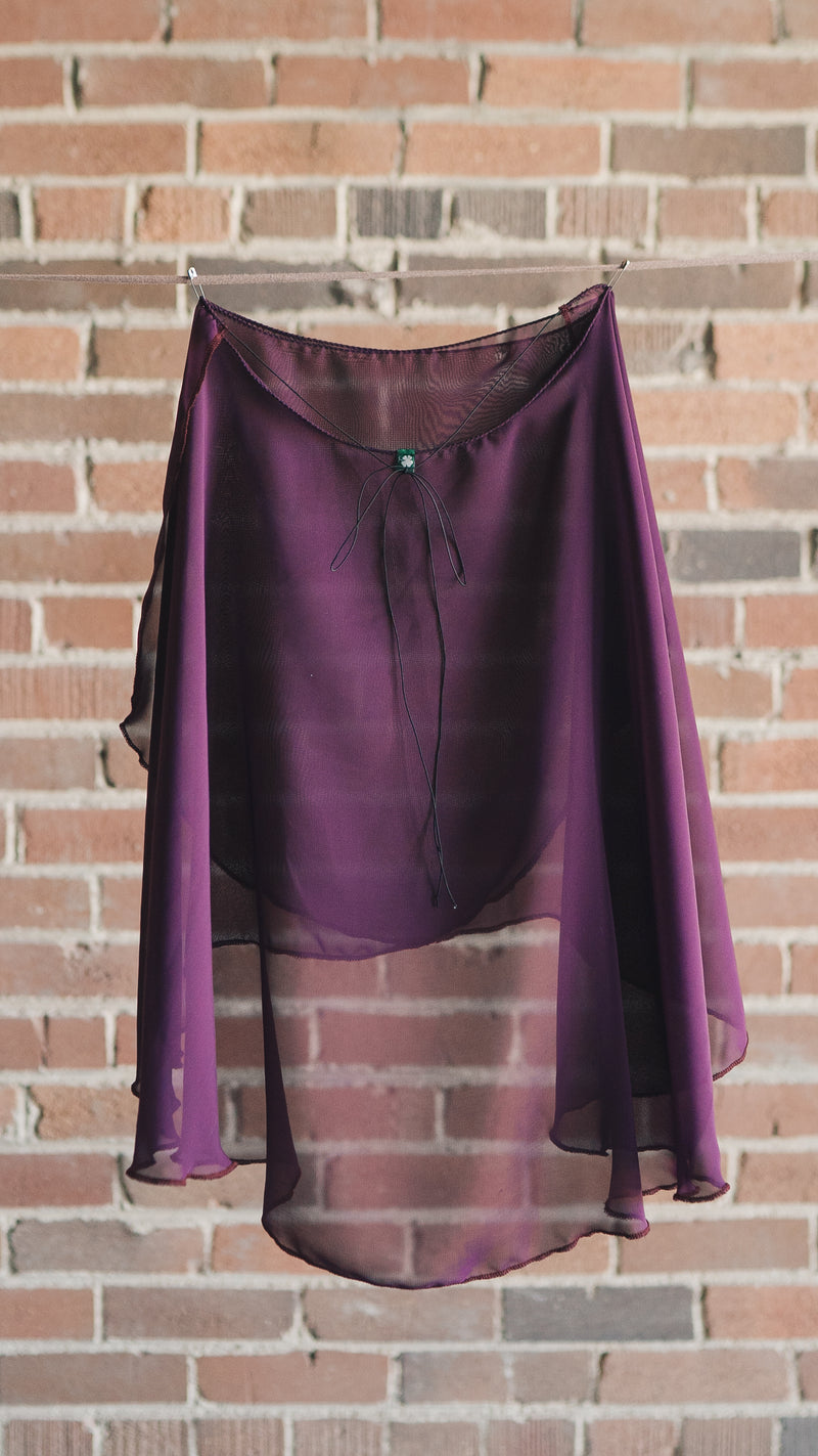 VESTA style knee length wrap skirt ballet Luckyleo dancewear back plum