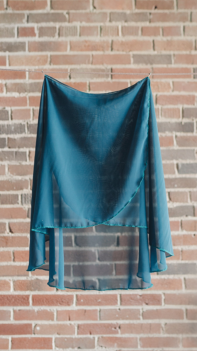 VESTA style knee length wrap skirt ballet Luckyleo dancewear teal front