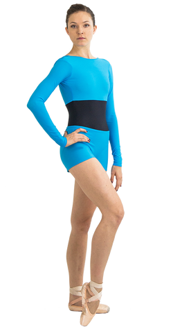 Mermaid Color Custom Ballet Shorts in Prima Style Front View