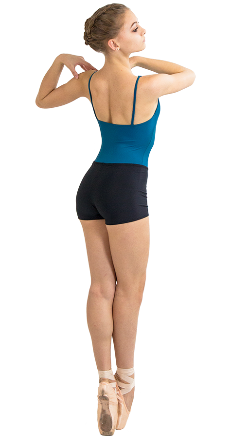 Black Custom Ballet Shorts in Prima Style Side View