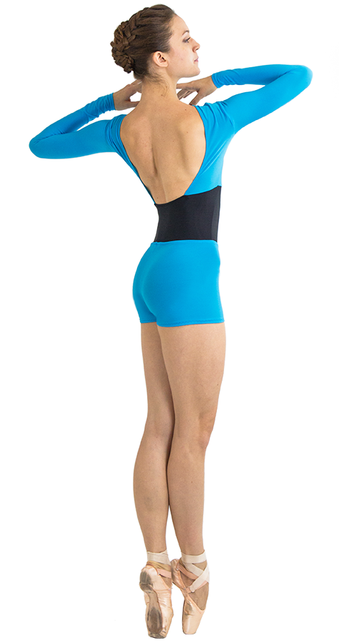 Mermaid Color Custom Ballet Shorts in Prima Style Side View