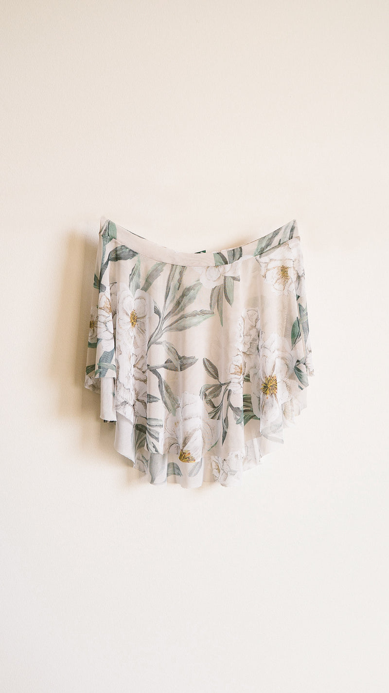 HAND PAINTED EOS ALMOND CAMELLIA PRINT SKIRT