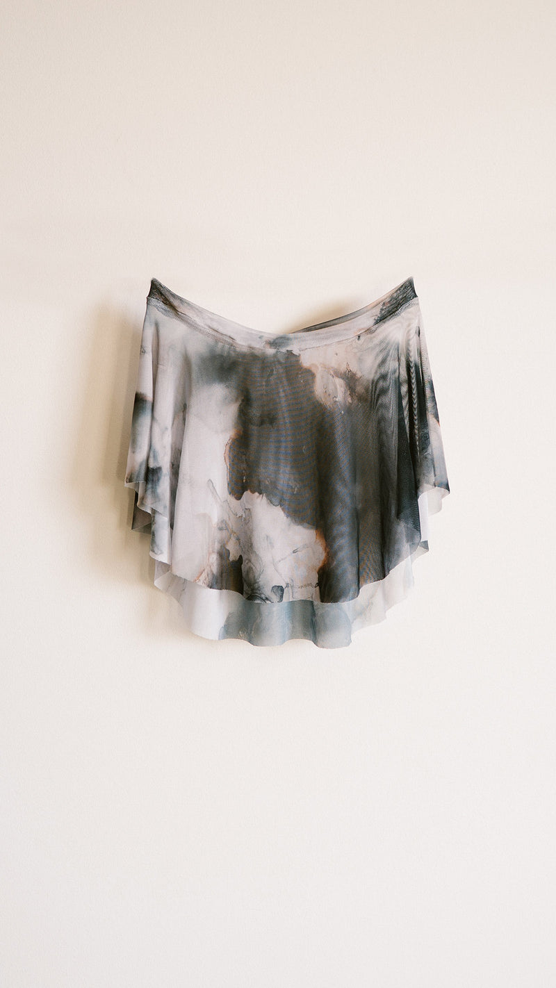 HAND PAINTED EOS BLACK CLOUD PRINT SKIRT