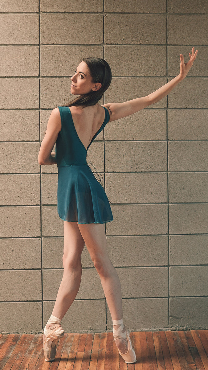FLORA style short wrap skirt ballet Luckyleo dancewear back teal Sarah Tryon