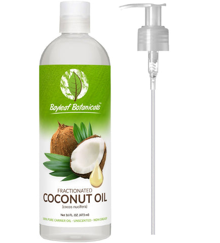 Fractionated Coconut Oil (Liquid) 16oz - BONUS PUMP - 100% Pure Therapeutic Grade Carrier Oil