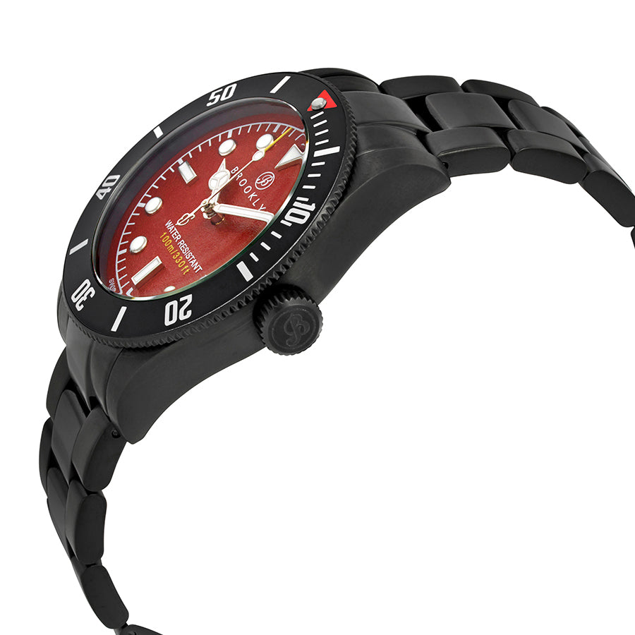 Brooklyn Watch Co. Black Eyed Pea Red Dial Mens Watch BW-306-C-55-BB-BLK