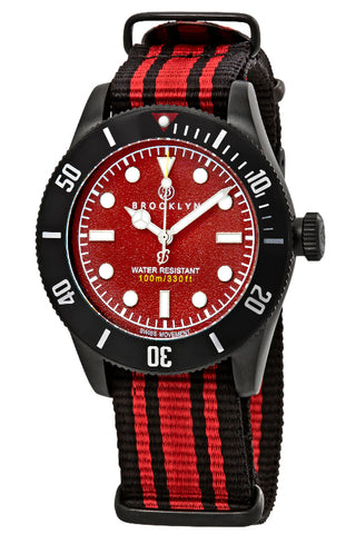 Brooklyn Watch Co. Black Eyed Pea Red Dial Mens Watch BW-306-G-05-BB-NSRDS