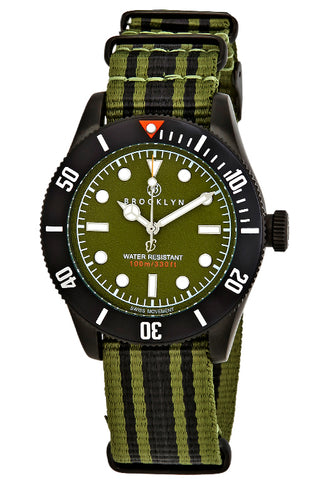 Brooklyn Watch Co. Black Eyed Pea Green Dial Mens Watch BW-306-H-08-BB-NSGRN