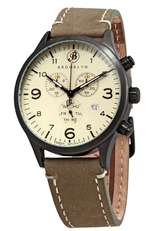 Brooklyn Watch Co. Bedford Brownstone Chronograph Cream Dial Mens Watch BW-307-A-019-BRW