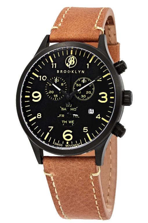 Brooklyn Watch Co. Bedford Brownstone Chronograph Black Dial Mens Watch BW-307-B-01-TS