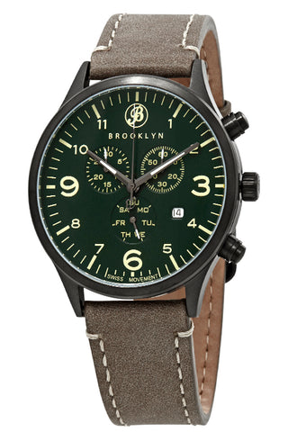 Brooklyn Watch Co. Bedford Brownstone Chronograph Green Dial Mens Watch BW-307-C-08-BRW