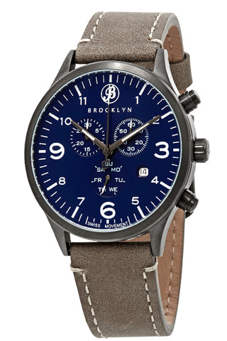 Brooklyn Watch Co. Bedford Brownstone Chronograph Blue Dial Mens Watch BW-307-D-03-BRW