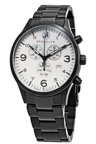 Brooklyn Watch Co. Bedford Brownstone Chronograph Grey Dial Mens Watch BW-308-E-104-BB