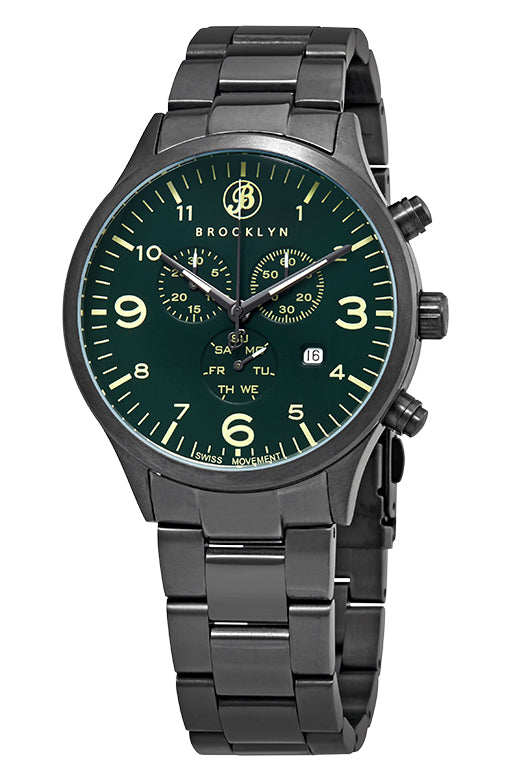Brooklyn Watch Co. Bedford Brownstone Chronograph Green Dial Mens Watch BW-308-F-88-GMB