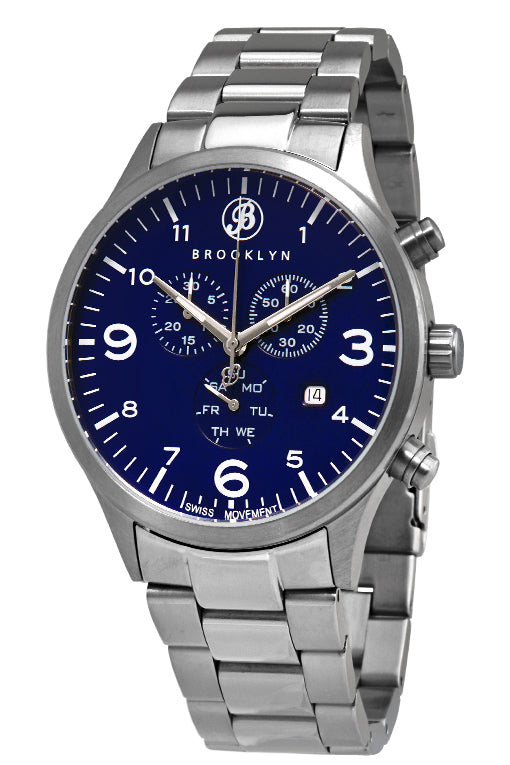 Brooklyn Watch Co. Bedford Brownstone Chronograph Blue Dial Mens Watch BW-308-G-33-SS