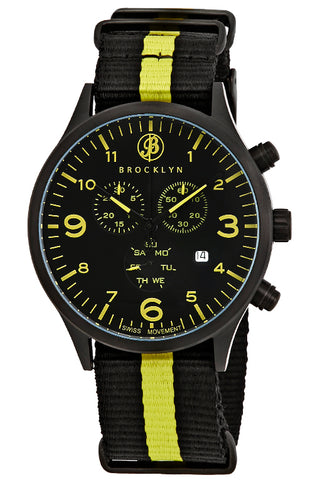Brooklyn Watch Co. Bedford Brownstone Chronograph Black Dial Mens Watch BW-309-I-01YA-NSYW
