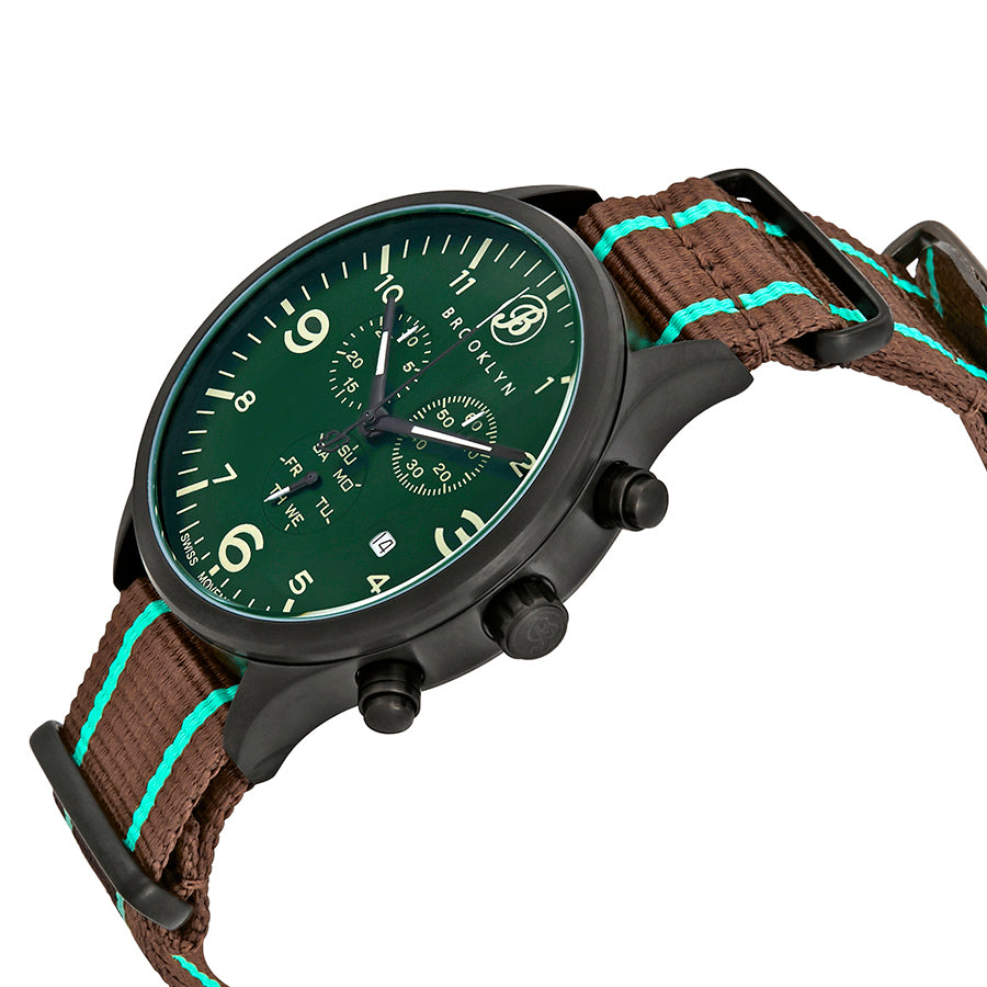 Brooklyn Watch Co. Bedford Brownstone Chronograph Green Dial Mens Watch BW-309-J-08-NSGRN