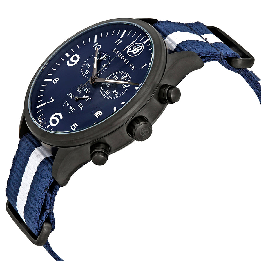 Brooklyn Watch Co. Bedford Brownstone Chronograph Blue Dial Mens Watch BW-309-K-03-NSBLS