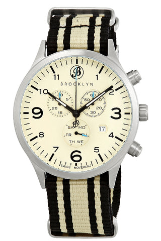 Brooklyn Watch Co. Bedford Brownstone Chronograph Cream Dial Mens Watch BW-309-L-016-NSBGS