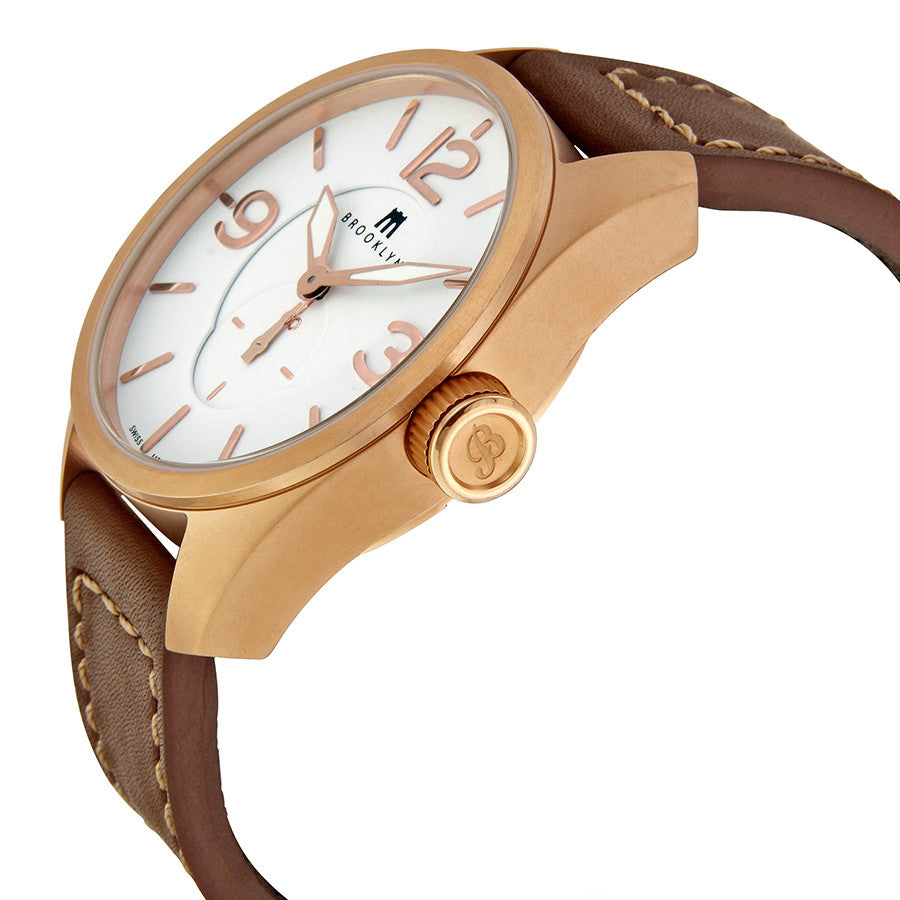 Brooklyn Lafayette White Dial Rose Gold-tone Swiss Quartz Mens Watch CLA-A