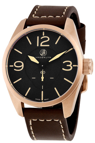Brooklyn Lafayette Black Dial Rose Gold-tone Swiss Quartz Mens Watch CLA-B