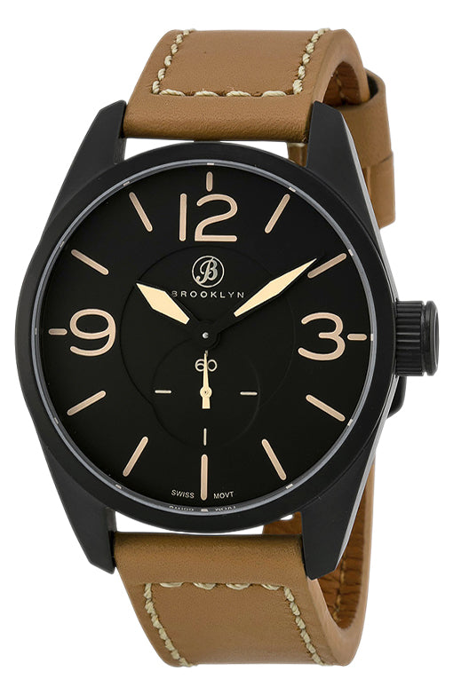 Brooklyn Lafayette Black Dial Tan Leather Swiss Quartz Mens Watch CLA-C