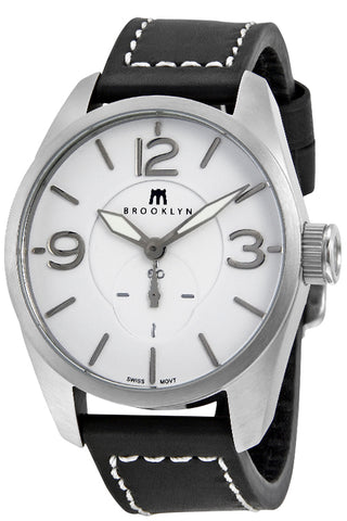 Brooklyn Lafayette White Dial Black Leather Swiss Quartz Mens Watch CLA-D