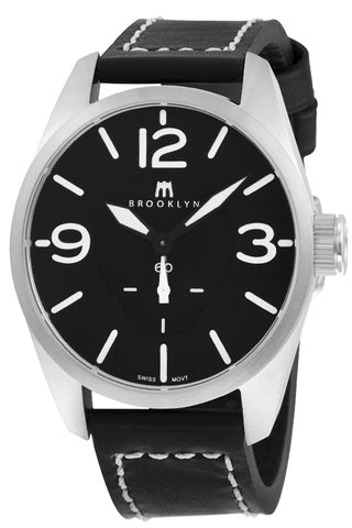 Brooklyn Lafayette Black Dial Black Leather Strap Swiss Quartz Mens Watch CLA-E