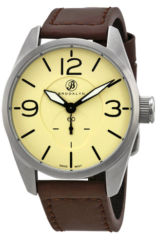 Brooklyn Lafayette Tan Dial Brown Leather Swiss Quartz Mens Watch CLA-G